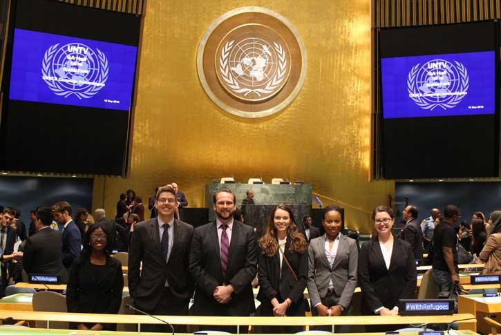 students at the United Nations during an annual trip on International Day of Peace