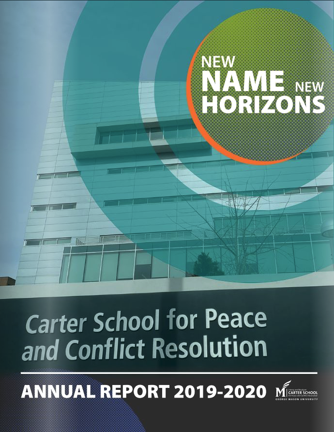 "Report cover reads ""New Names, New Horizons"" and depicts Van Metre Hall with Carter School signage in front"